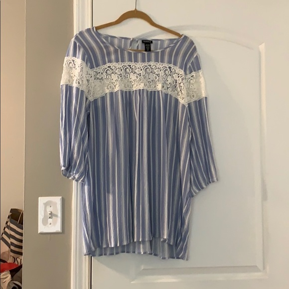 torrid Tops - Three quarter length blouse with stripes and lace
